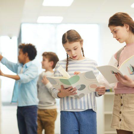 Children In School Library