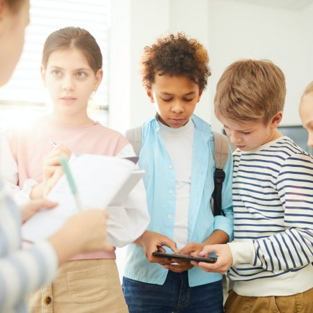 Modern Middle Schoolers Having Break